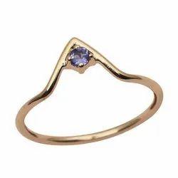 V-Curve Tanzanite Gemstone 9k Yellow Gold Women Stackable Ring