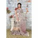 Cotton Casual Wear Beautiful Hand Block Saree, 6.3 M (with Blouse Piece)