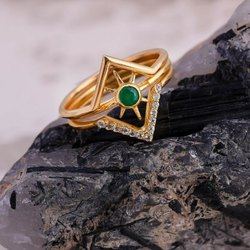 Emerald Three Finger Ring Set