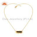 Design Gold Plated Silver Black Onyx Gemstone Pendants