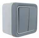 2 Lever Plexo Surface Mounted Electrical Switch - Grey