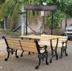 Garden metal park bench set