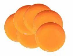 Mehul 6 Pcs Melamine Half Plate - Orange (6 Plate Set)