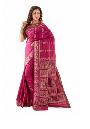 8e966cbff0face Pink Silk Handwoven Plum Meenakari Swarnachari Bengal Saree