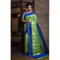 Pure Handloom Tussar Banarasi Saree In Green And Blue
