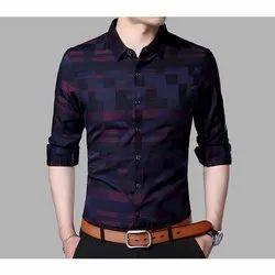 Cotton Collar Neck Men Designer Casual Shirt