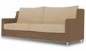 Modern Straight Line 3 Seater Sofa (Brown & Beige)