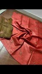 Jute Organza Embroidery Work Sarees