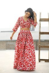 Rawza India Back Cross Tie Blouse Skirt Dress