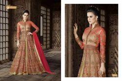 Semi-Stitched Unstitch Designer Embroidered Net Anarkali Suit, Dry clean