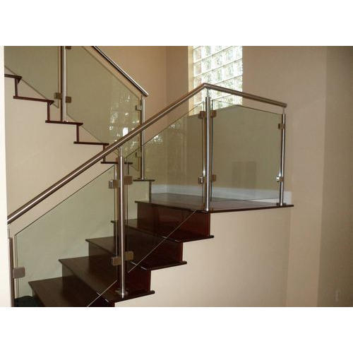 Stainless Steel Railings Glass Handrails Installation: Stainless Steel Bar Stairs Glass Railing, Rs 750 /feet
