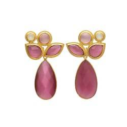 Silver Pink Monalisa Gemstone Gold Plated Earring
