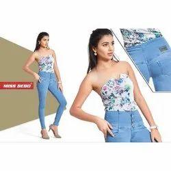 Ladies High Waist Denim Blue Jeans