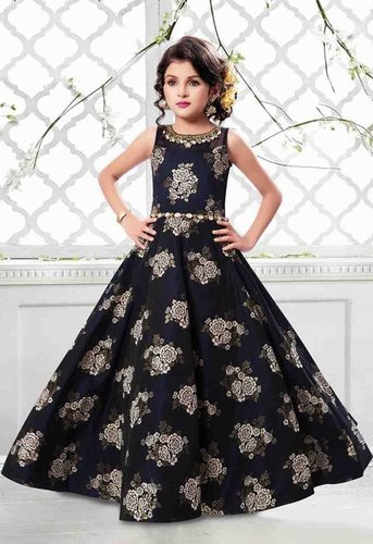 797b5a7146 Indian Ethnic Designer Jacquard Silk Kids Party Wear Gown ...