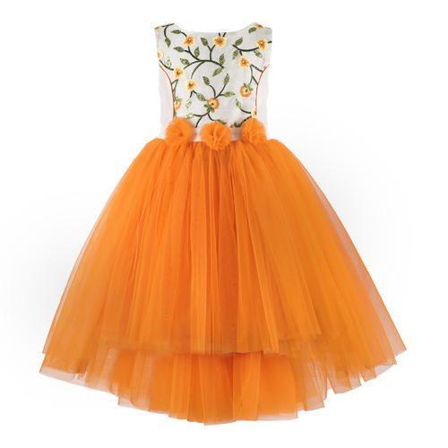 0847fe968d20 Orange Festive Wear And Party Wear Frocks For Girls