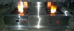 Stainless Steel Two Burner Gas Stove, For Kitchen, Size: 48*24*32