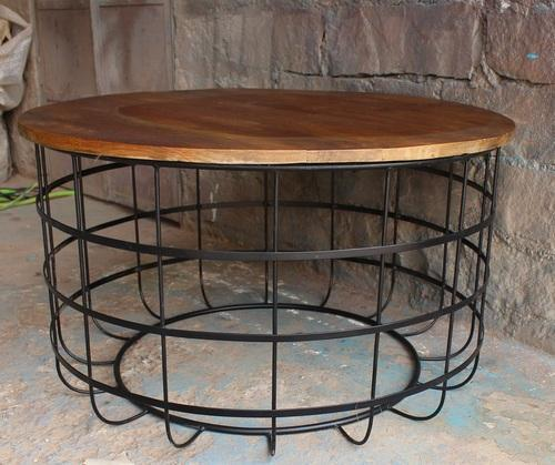 Fabulous Vintage Round Metal Cage With Mango Wood Table Gmtry Best Dining Table And Chair Ideas Images Gmtryco