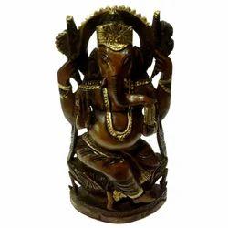 Wooden Black Finishing Ganesha Statue'