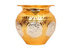 Round Copper Gold & Silver Polished Swastik Design Lota For Home, Size: 5