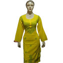 Cotton Casual Wear Ladies Yellow Embroidered Designer Suit