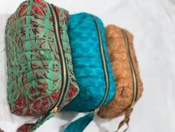 silk saree quilted pouch bag