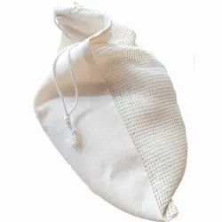 Organic Cotton Drawstring Bag With One Side Mesh Bag