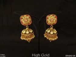 Flower Jhumki Kundan Earrings