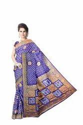 All Over Blue Color Hand Work Design Art Silk Bandhani Saree