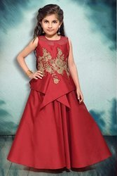 74250201437a Beautiful Designer Canton Silk Maroon Kids Party Wear Gown