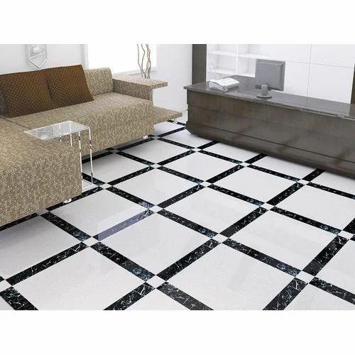 White Black Cata Strip Floor Tile
