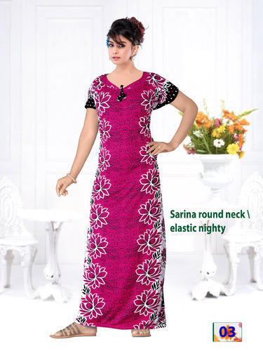 4a5d140a08 ... Night Dress. Cotton Full Length Sarina Printed Nighty