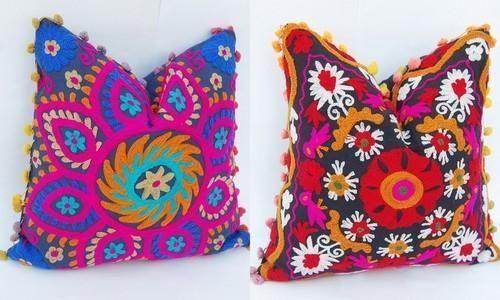 Suzani Cushion & Pillow Covers - Suzani Embroidered Suer Cushion