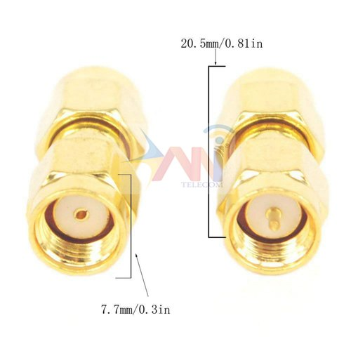 RP SMA male to RP-SMA male plug RF connector Adapter coupler straight type NEW