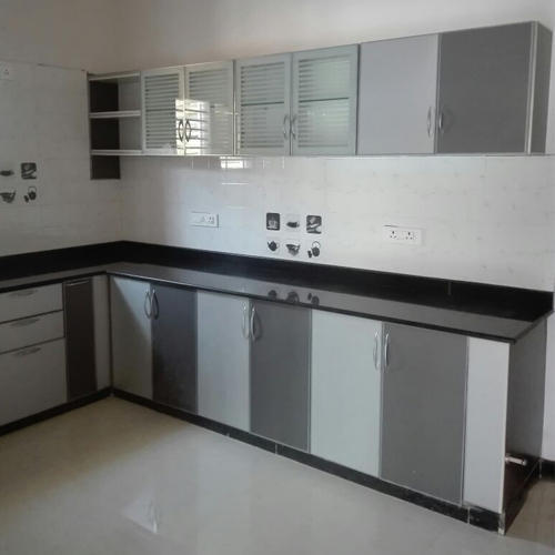 Aluminium Modular Kitchen At Rs 1100 Square Feet: Modern White And Grey Aluminium Modular Kitchen Cabinet