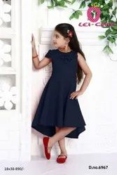 Casual Wear Blue Adorable Navy Floral Applique Hi-Lo Party Dress, Size: 6 - 10 Years