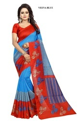 Printed Bhagalpuri Art Silk Sarees, Length: 6.3 m