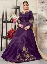Abaya Style Mulberry Silk Anarkali Suit