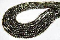Black Spinel Golden Coated Beads