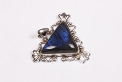 Labradorite With Blue Fire Triangle Shape Smooth Cut Pendant,Natural Labradorite 92.5 Silver Pendant