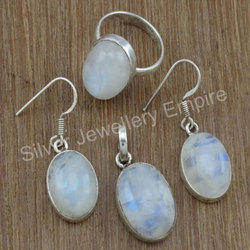 925 Sterling Silver Fashion Jewelry Rainbow Moonstone Set
