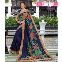 Floral Print Navy Blue Saree