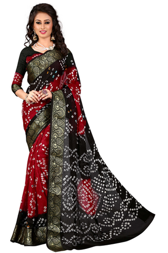 f99d51d2ec9 Bandhani Art Silk Black And Red Jacquard Silk Saree With Blouse