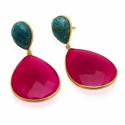 Fuchsia Chalcedony & Amazonite Gemstone Gold Plated Earrings