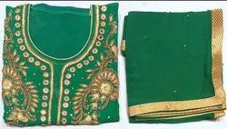 Georgette Ladies Handwork Green Suit 15
