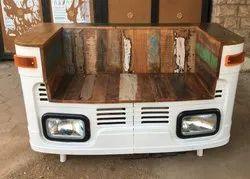 White Mild Steel Vintage Industrial Automobile Sofa