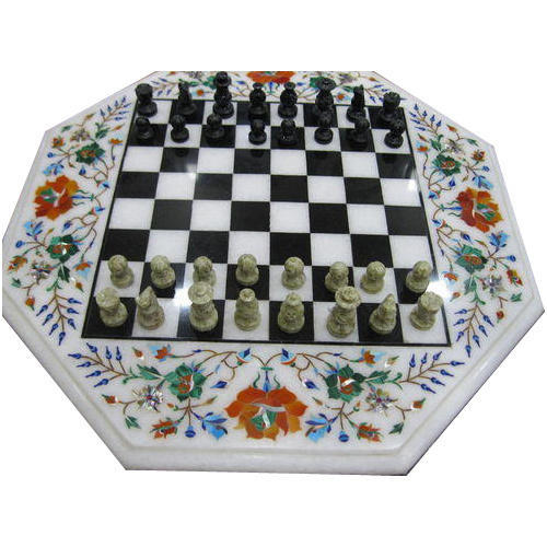 Marble Inlay Chess Game Board With Coins
