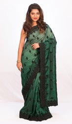 Angosree Satin Flower Work Saree