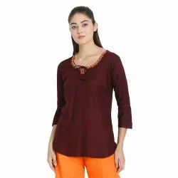 Neck Embroidered And Dori Style Top
