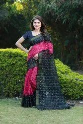 5.5 m (separate blouse piece) Festive Wear Richa Fashion World Bhagalpuri Saree, With Blouse Piece