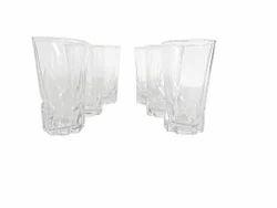 Transparent Glass Feliz Set Of 6 Drinking Glasses, 8 Ounces, Arsenic Free (design 6)